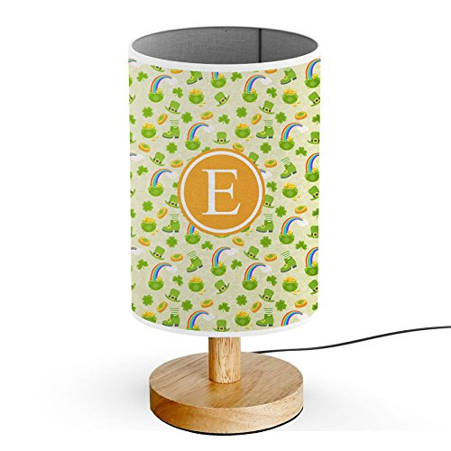[ INITIAL LETTER E ] Monogram Name USB POWERED Wood Base Desk Table Bedside Lamp [ Saint Patrick Day Leprechaun ]]()