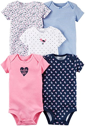 Carter's Baby Girls' 5-Pack Bodysuits 126g330, Assorted, 3 Months