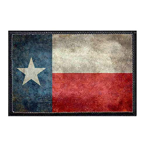 Texas State Flag - Distressed - Color Morale Patch | Hook and Loop Attach for Hats, Jeans, Vest, Coat | 2x3 in | by Pull Patch (Distressed Patch)