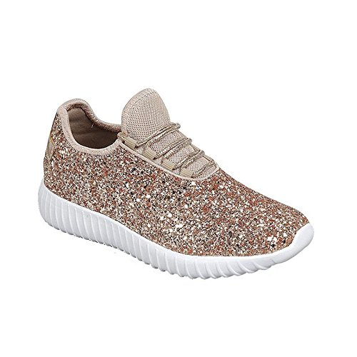 Remy18k Rose Gold Lace up Rock Glitter Fashion Sneaker for Children/Girl/Kids -