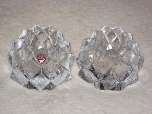 Pair (2) Vintage Orrefors Sweden Pressed Glass Firefly Votive / Tea Light Candle Holder