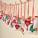 AerWo Felt Christmas Countdown Advent Calendar Garland, 24 Day Countdown Calendar Gift Bags Christmas Decorations
