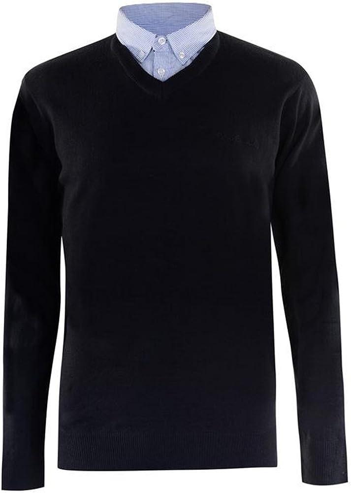 Maglione lavorato a maglia con scollo a V e inserto con il colletto di camicia Pierre Cardin