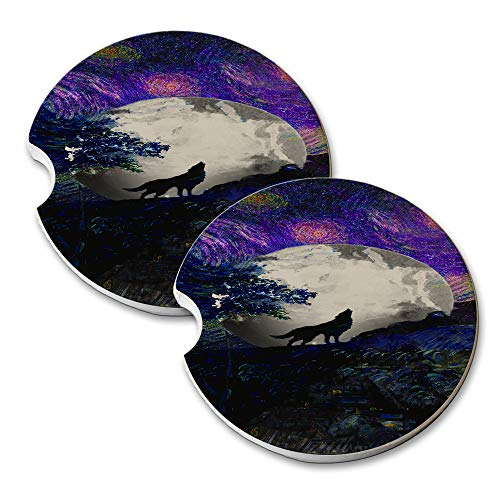 (New Vibe Van Gogh Starry Night Wolf - Round Absorbent Natural Stone Car Coaster Set (Set of 2) Auto Drink Coasters)