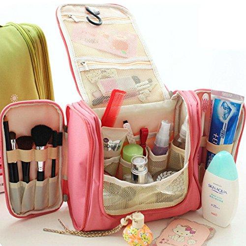 NPLE--Travel Hanging Makeup Case Toiletry Cosmetic Wash Bag Purse Zipper Organizer (Rose) ()