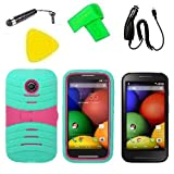 Hybrid w Kickstand Cover Case Cell Phone Accessory + Car Charger + Extreme Band + Stylus Pen + Screen Protector + Yellow Pry Tool For Motorola Moto E XT830C Condor (S-Hybrid Teal Pink)