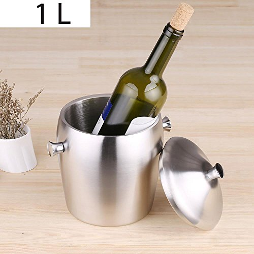 - 1L Luxury Good Quality Double-walled Ice Bucket Practical Stainless Steel Ice Bucket with Lid Bar Supplies
