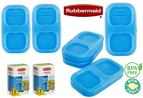 6pc Rubbermaid Lunch Blox Blue Ice Pack BPA-Free - Stay Frozen Longer Keeps your ON-THE-GO Food Lunch Salad and Sandwich Cold - Small & Compact Stackable Reusable - Made in USA
