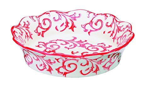 Red Pie Dish - Bia Cordon Bleu Heritage Fluted Pie Dish with Red Swirls - Stoneware