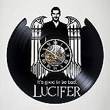 Lucifer - DC Comics – handmade vinyl record wall clock - horror clock artwork gift idea for birthday, christmas, women, men, friends, girlfriend boyfriend and teens - living kids room nursery