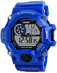 Mens Wrist Watch - Skmei Mens Superb S-Shock Military Digital Water Resistant Sports Wrist Watch all blue