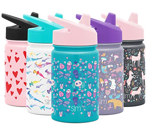 Simple Modern Kids Summit Sippy Cup Thermos 10oz - Stainless Steel Toddler Water Bottle Vacuum Insulated Girls and Boys Hydro Travel Cup Flask -Ladybug Garden Purple