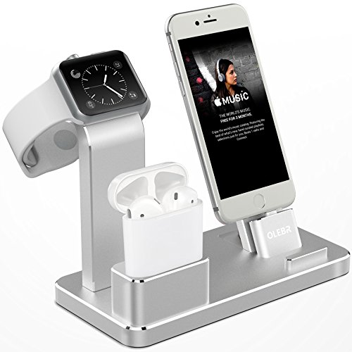 Aluminum Watch Stand Charging Dock for iWatch iPhone(Silver) - 1