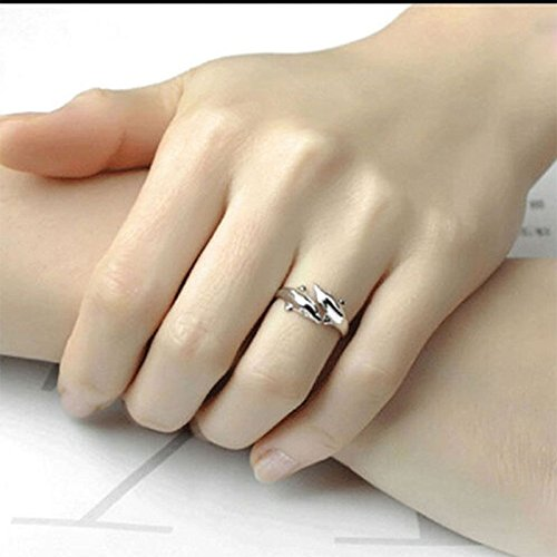 New Fashion 925 Sterling Silver Double Dolphin Opening Adjustable Rings Gift New Pg7lTgEd