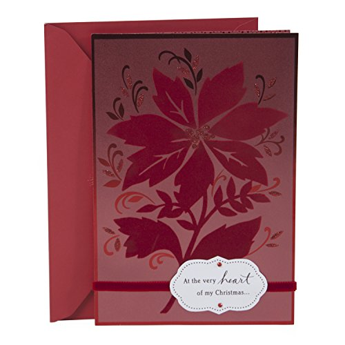 Hallmark Romantic Christmas Greeting Card for Her (Red Poinsettia)