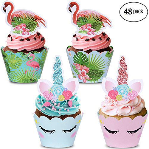 mpeter 48 Pack Cupcake Toppers, Double-Sided Flamingo and Unicorn Cupcake Toppers and Wrappers for Birthday, Baby Shower, Kids Party Decoration.