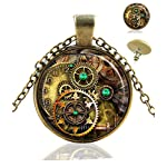 Heilong Gear Steampunk Custom Design Alloy Bronze Pendant Necklace Stud Earrings Set Gift 5
