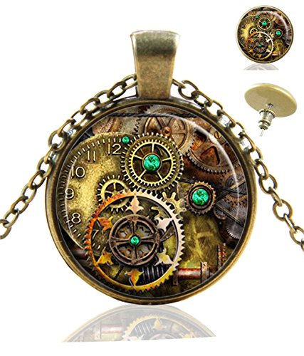 Heilong Gear Steampunk Custom Design Alloy Bronze Pendant Necklace Stud Earrings Set Gift