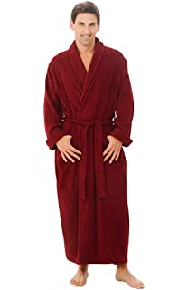 Alexander Del Rossa Mens Turkish Terry Cloth Robe, Long Cotton Bathrobe