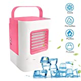 MOSTOP Air Conditioner Mini Portable Air Conditioner Energy Efficient Mini Air Conditioning Fan Desktop Cooling Fan for Office Home Outdoor Travel (Pink)