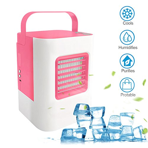 MOSTOP Air Conditioner Mini Portable Air Conditioner Energy Efficient Mini Air Conditioning Fan Desktop Cooling Fan for Office Home Outdoor Travel (Pink) by MOSTOP