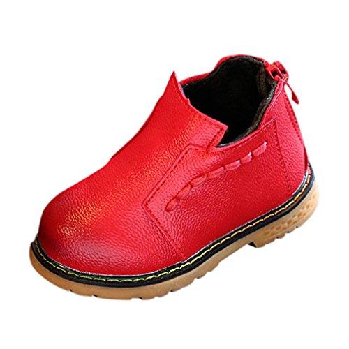Hunpta Kinder Mode Jungen Mädchen Martin Sneaker Winter Dicke Kinder Baby Freizeitschuhe Rot