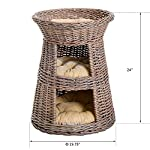Cat Basket PawHut 24″ 3 Tier Round Rattan Wicker Elevated Cat... [tag]