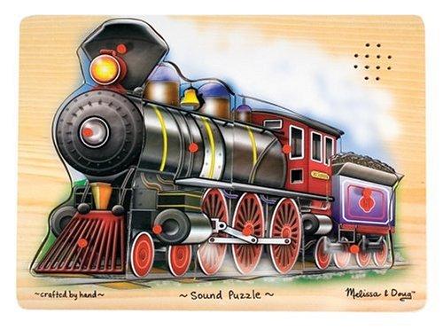 Melissa & Doug Train Sound Puzzle - Wooden Puzzle With Sound Effects (9 pcs) -