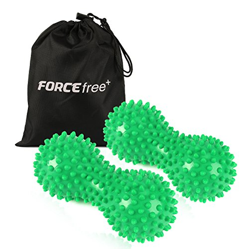 Forcefree+ Spiky Massage Balls (2 Pack, Hard), Deep Tissue Foot Back Massager - Peanut Shape Lacrosse Balls Perfect for Therapy Planter Fasciitis, Mobility, Acupressure, Muscle (Soft Foot Massager)
