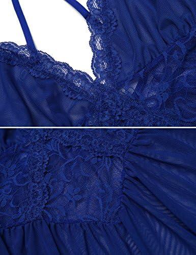Damen Sexy Spitze Negligee Nachtwäsche Reizwäsche V-Ausschnitt Babydoll Lingerie Kleid Transparent Rückenfrei Nachtkleid Nachthemd Dessous Set Sleepwear