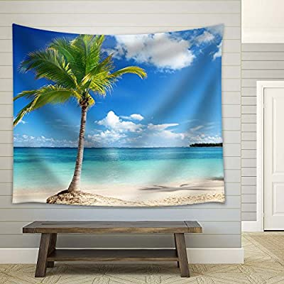 Palm Tree on Tropical Beach - Fabric Tapestry, Home Decor - 68x80 inches