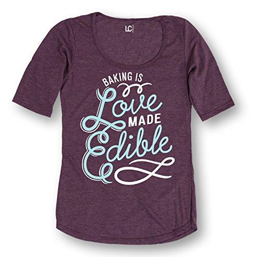 Baking is Love Made Edible Cooking Humor Tee - Ladies 3/4 Sleeve Tee