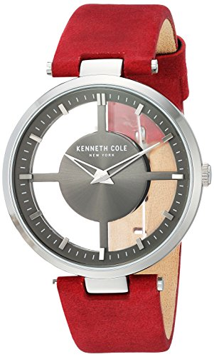 Kenneth Cole New York Women's Quartz Stainless Steel and Leather Casual Watch, Color:Red (Model: KC15004007)