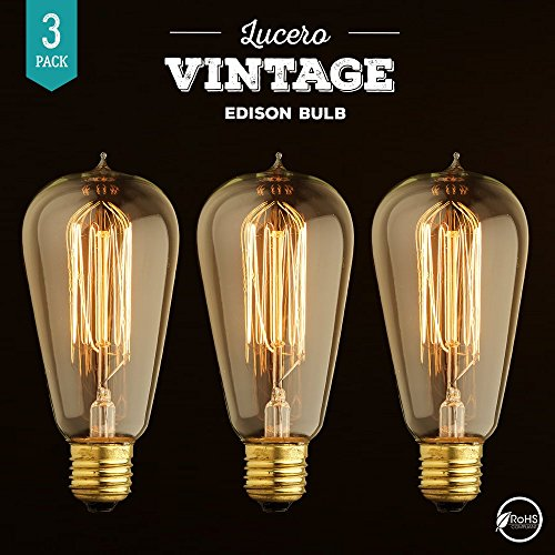 Lucero Edison Bulb 60W with Squirrel Cage Filament – ST58 Vintage Teardrop Design | Dimmable Retro Light Bulbs for Chandeliers, Retro Pendant Lights, Sconces, Antique Light Fixtures (3 Pack)