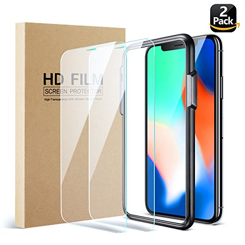 Eakase iPhone X Screen Protector (2 Pack), [Case Friendly] iPhone X Tempered Glass 2.5D Smooth Edges with Easy Install Alignment Frame for iPhone 10 - - That Glasses Places Sell