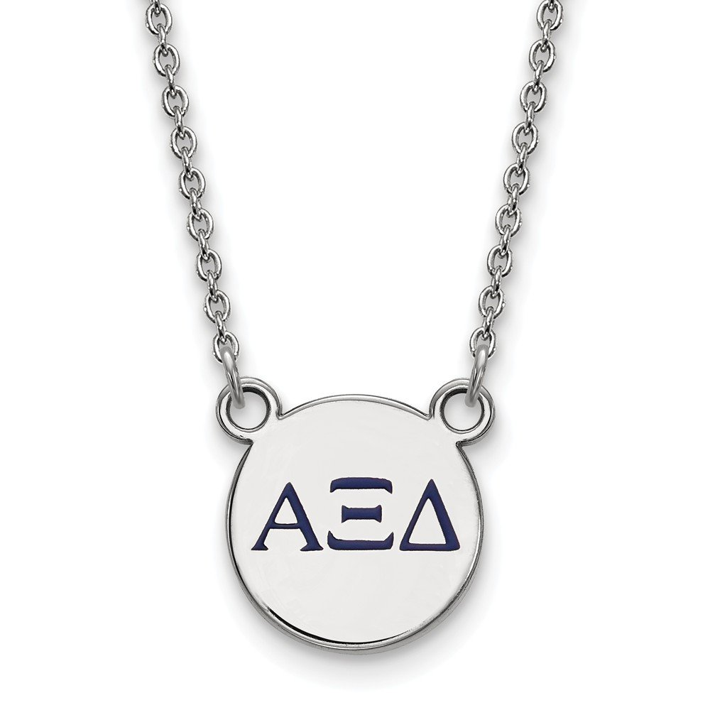 12mm Solid 925 Sterling Silver Alpha Xi Delta Extra Small Enl Pendant with Necklace