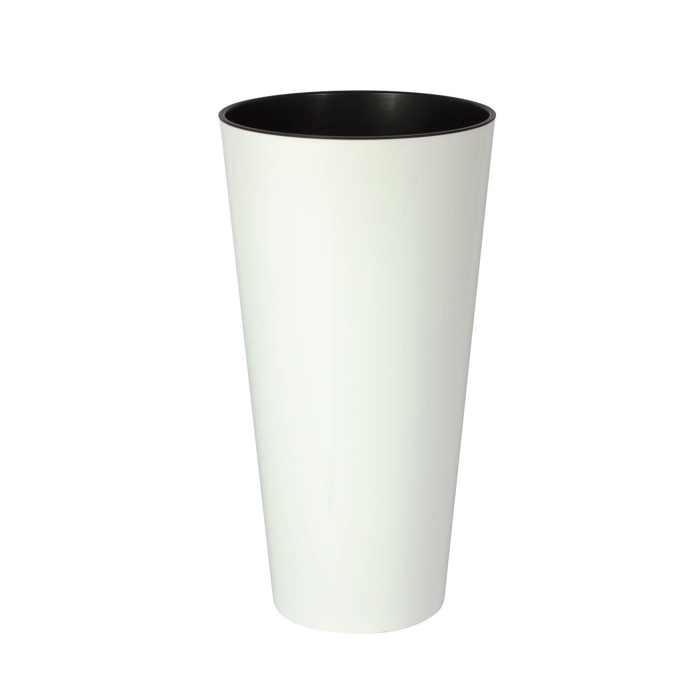 Blanc 30 cm TUBUS SLIM SHINE pot de fleur Prosperplast