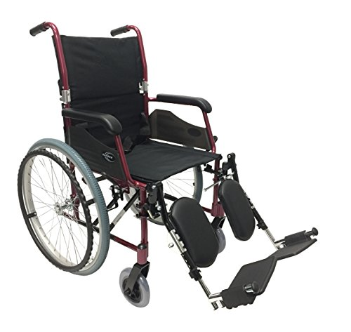 Karman 24 Pound Ultra Lightweight Wheelchair In Burgundy with Elevating Leg Rest