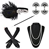 ZeroShop 1920s Accessories Headband Earrings Necklace Gloves Cigarette Holder (Medium, M15)