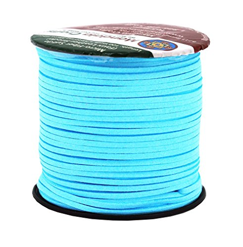 (Mandala Crafts 100 Yards 2.65mm Wide Jewelry Making Flat Micro Fiber Lace Faux Suede Leather Cord (Sky Blue))