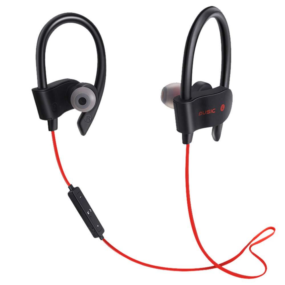 QUNANEN Wireless Bluetooth Headset Headphones Sport Sweatproof Stereo Earbuds Earphone Best Beats Cordless Sports Ear Buds for Gym, Workout, Sports Earphones (Red)