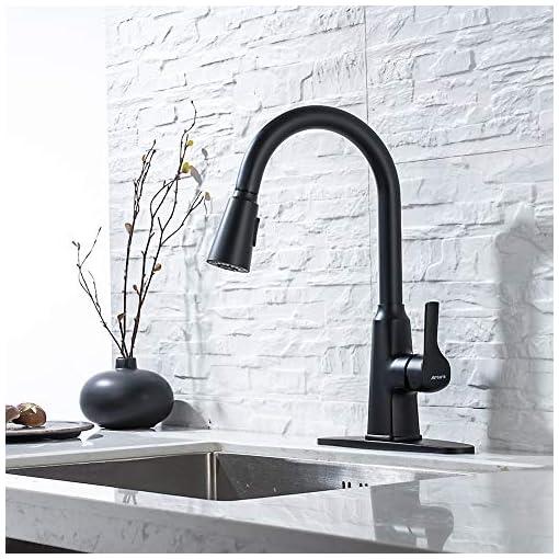 Farmhouse Kitchen Kitchen Faucet, faucets for Kitchen Sinks sus304 Stainless Steel Matte Black Kitchen faucets with Pull Down Sprayer… farmhouse sink faucets