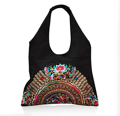 Mano Las Bolso del Estilo de Mujeres Las shop a de Hecho totalizador Hombro del Bolsas étnica de de Bordado Beibao Chino Flores Moda señoras Las f4gqwOO