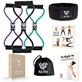 M-fity Muscle Toner Resistance Tube Bands Premium Figure 8 Training Exercise Cords Set of 3 + Sports Head Band + eBook on Leading a Healthy, Active Life