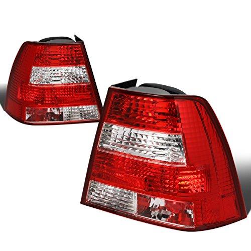 For 1999-2004 VW Jetta MK4 Pair Red/Clear Lens Tail Light Brake/Parking/Reverse Lamps