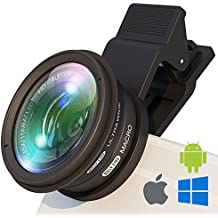 Phone Camera Lens Attachment: Professional Wide Angle and Macro Lens w/UV Filter. Easy Clip Fisheye Lens Fits Samsung/iPhone/Huawei - Universal Cell Phone Camera Lens Clip For Photo/Video + FREE Guide