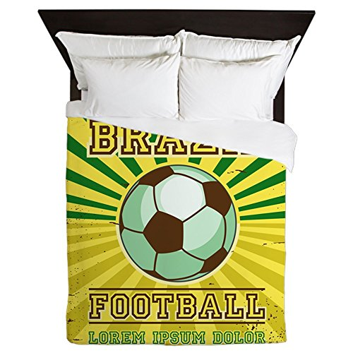 Queen Duvet Cover Brazil Football Soccer Lorem Ipsum by Royal Lion