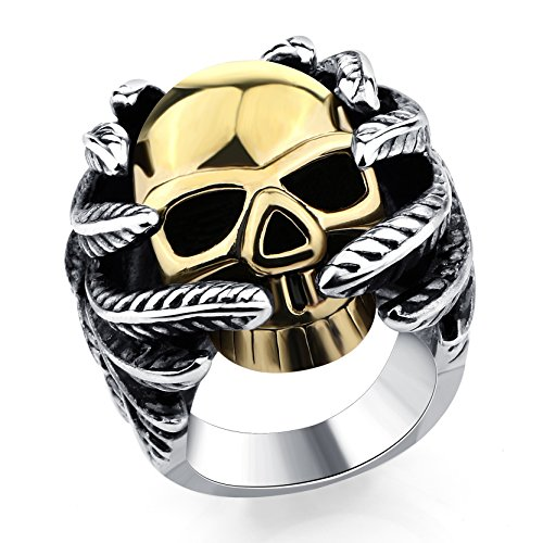 Golden Skull Silver Plated Rings Titanium Steel Hand Bone Finger Ring For Man Diameter 21 (Mens Golden Iced Out Rings)