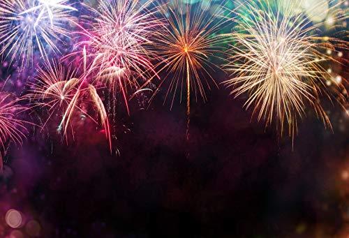 Leyiyi 8x6ft Photography Background Merry Christmas Backdrop 2019 Happy New Year Xmas Day Winter Holiday Fireworks Cracker Bokeh Halo Spot Holy Night Carnival Church Photo Portrait Vinyl Studio Prop
