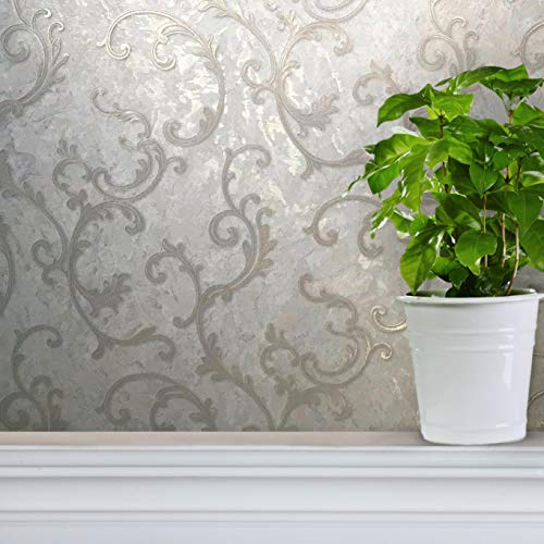 113 sq.ft rolls Slavyanski modern wallcoverings victorian faux plaster damask pattern Vinyl Non-Woven Wallpaper white ivory silver gold metallic textured 3D coverings vintage style paste the wall only ()